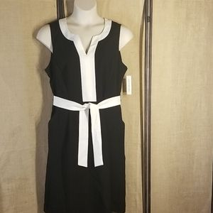 New w/tags classy black dress with white detail